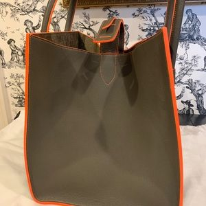 Celine Bags - NWT Auth Celine Phantom Green Stone w/ Orange Trim